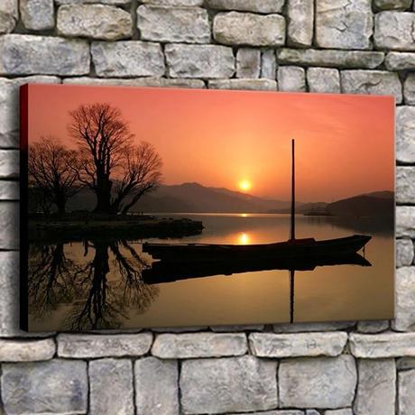 【お洒落な壁掛けアートパネル】 枠付き 40×60cm ボート 湖 影 日の出 写真 絵画 部屋 インテリア m06329