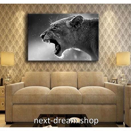 【お洒落な壁掛けアートパネル】 枠付き 40×60cm ライオン 動物 白黒写真 絵画 部屋 インテリア m06323