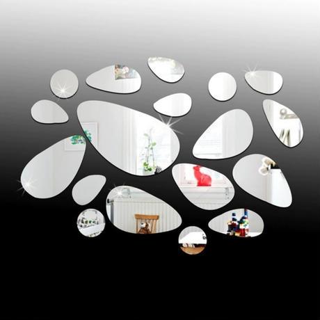 【ウォールステッカー】 立体アクリルミラー 3d 鏡 シルバー 石畳 18pcセット 張付簡単シールタイプ DIY m03604