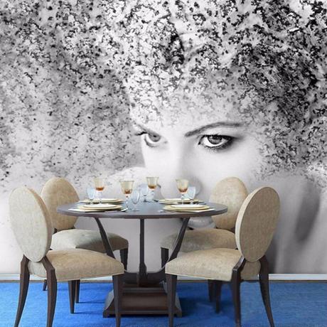 【カスタム3D壁紙】 1ピース 1m2 ファッション 美 芸術 アート 女性 キャンバス地 クロス張替 部屋 m05325