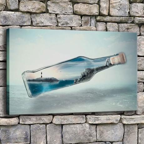 【お洒落な壁掛けアートパネル】 枠付き 40×60cm ボトル 便 島 海 灯台 絵画 部屋 インテリア m06333