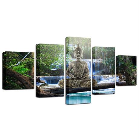 ☆壁掛けアートパネル☆ 20cm枠5点セット 仏像 大仏 瞑想 滝 自然風景 森 お洒落 インテリア m05487
