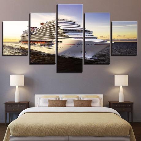 【お洒落な壁掛けアートパネル】 小さめサイズ5点セット 船 豪華客船 ボート 海 旅 ファブリックパネル DIY インテリア m04976