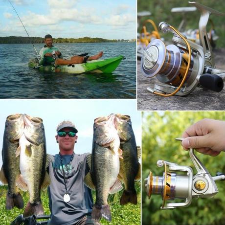 新品 スピニングリール 釣り道具 フィッシング 海釣り 高速 高性能ベアリング ゴールド×シルバー 4000 5000番 m02011