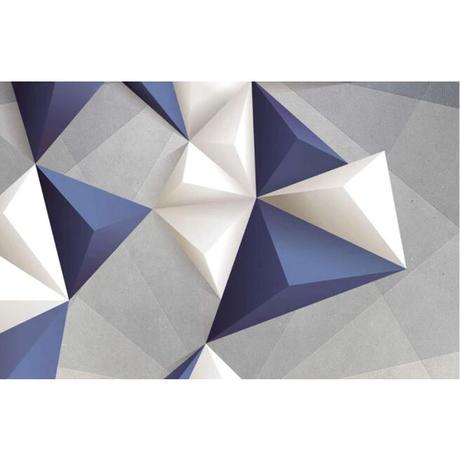 壁紙 ジオメトリ 立体デザイン 青 白 1ピース 1㎡ サイズカスタマイズ可能 部屋 リビング ショップ 店舗 m06115