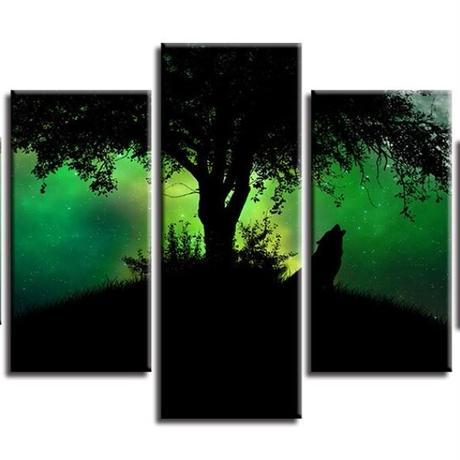 【お洒落な壁掛けアートパネル】 小さめサイズ5点セット 狼の遠吠え グリーン 月 夜 影 ファブリックパネル DIY インテリア m04965