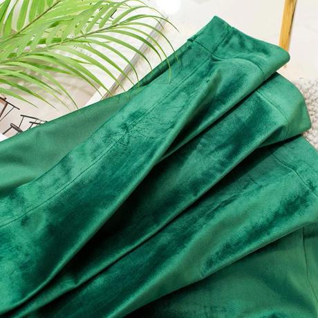☆ドレープカーテン☆ 北欧 ベルベット グリーン W100cmxH250cm 高さ調節可能 フックタイプ 2枚セット ホテル m05723