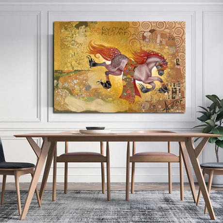 【お洒落な壁掛けアートパネル】 枠付き 40×60cm 馬 ゴールド GYSTPV レトロ 絵画 部屋 インテリア m06370