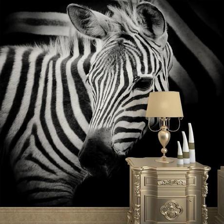 【カスタム3D壁紙】 1ピース 1m2 シマウマ ゼブラ 動物写真 サロン キャンバス地 クロス張替 部屋 m05314