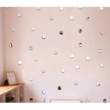 ☆インテリア3Dステッカー☆ ラウンド 丸型 2cm 500個セット 銀色 壁用 アクリルシール デコ素材 DIY 店舗 m05618
