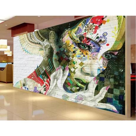 【カスタム3D壁紙】 1ピース 1m2 ウォールアートデザイン 落書き レンガ キャンバス地 クロス張替 部屋 m05309