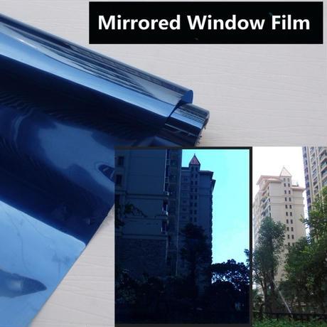 マジックミラー機能 ウィンドウフィルム 21×29.7cm ロイヤルブルー ガラス 反射 ミラーシート 紫外線・UV・日射ブロック m03032