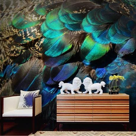 【カスタム3D壁紙】 1ピース 1m2 孔雀の羽 玉虫色 寝室 サロン 店舗 キャンバス地 クロス張替 部屋 m05313