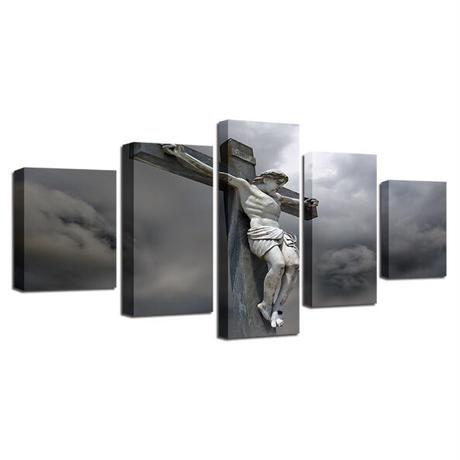 ☆壁掛けアートパネル☆ 20cm枠5点セット キリスト 十字架 クロス 写真 暗雲 空 お洒落 インテリア m05525