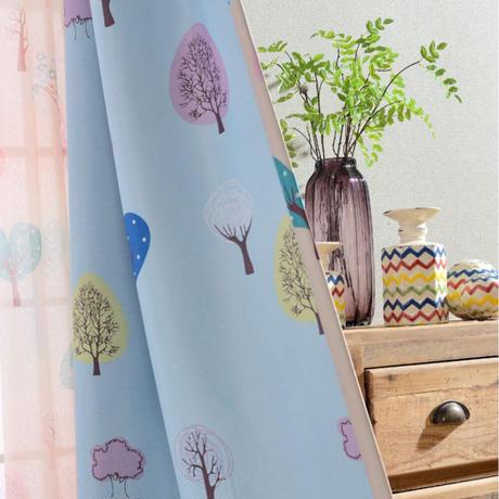 ☆ドレープカーテン☆ 森 ブルー 子供部屋 W100cmxH250cm 高さ調節可能 フックタイプ 2枚セット ホテル m05716