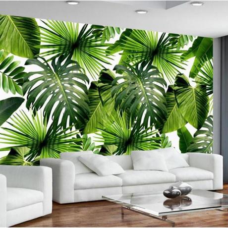 【カスタム3D壁紙】 1ピース 1m2 東南アジア 熱帯雨林 バナナの葉 カフェ 店 キャンバス地 クロス張替 部屋 m05329