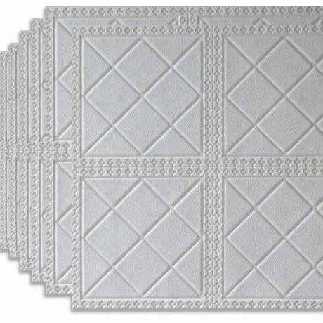 【3D壁紙】 70×70cm 10枚パック 立体壁画デザイン 白 接着剤付 高級クロスステッカー 部屋 リビング ショップ DIY 防水 m03992