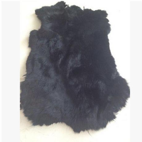 ウサギ 毛皮 本物 ハンドメイド レザー クラフト 加工用 滑らか 一枚 柔らかい 黒 白 茶 グレー h00006