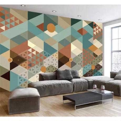【カスタム3D壁紙】 1ピース 1m2 幾何学柄 三角 レトロ 和風カラー サロン キャンバス地 クロス張替 部屋 m05307