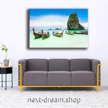【お洒落な壁掛けアートパネル】 枠付き 40×60cm パラダイス ビーチ 海 島 ボート 絵画 部屋 インテリア m06328