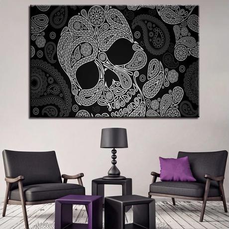 【お洒落な壁掛けアートパネル】 枠付き 40×60cm ドクロ 白黒 がいこつ ペイズリー 伝統 絵画 部屋 インテリア m06393