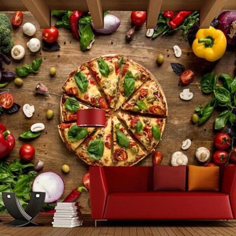 【カスタム3D壁紙】 1ピース 1㎡ ピザ マルゲリータ 野菜 キッチン レストラン お店 クロス張替 リメイクシート m04755