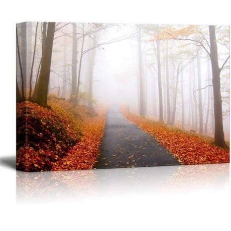 【お洒落な壁掛けアートパネル】 枠付き 40×60cm 紅葉の山道 落ち葉 自然風景 写真 絵画 部屋 インテリア m06315