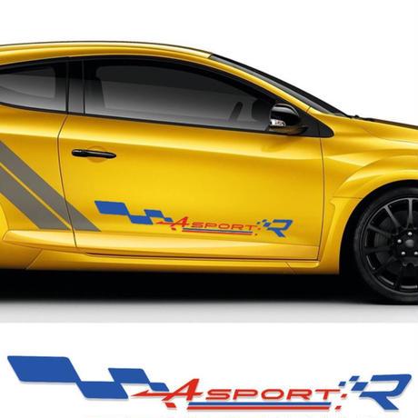 ルノー クリオ ステッカー レーシング スポーツ ドアサイド ストライプ デカール Clio R.S Twingo Megane h00181