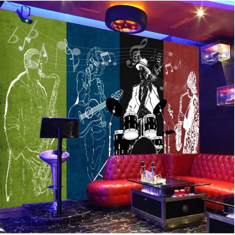 壁紙 8D素材 ライブハウス 音楽 演奏 1ピース 1㎡ サイズカスタマイズ可能 部屋 リビング ショップ 店舗 m06144