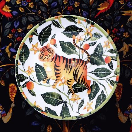 新品送料込 皿 セラミック 食器 虎 タイガー 葉っぱ リーフ ボヘミアスタイル 高級 おしゃれ 00822