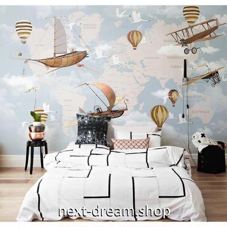 カスタム3D壁紙 1ピース 1㎡ 気球 飛行機 空 世界地図 子供部屋 リビング 寝室 ウォールペーパー m05818