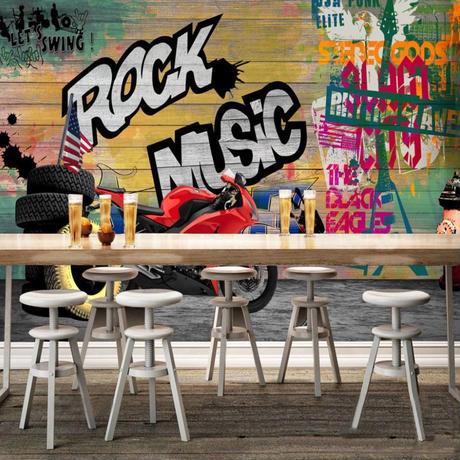 3D 壁紙 1ピース 1㎡ ウォールアート ROCK MUSIC DIY リフォーム インテリア 部屋 寝室 防湿 防音 h03273