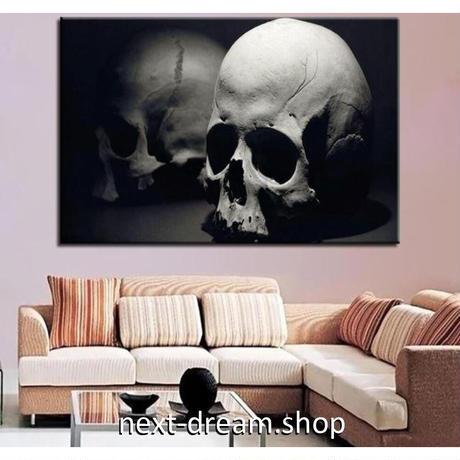 【お洒落な壁掛けアートパネル】 枠付き 40×60cm ドクロ 白黒写真 骸骨 ホラー がいこつ 絵画 部屋 インテリア m06392