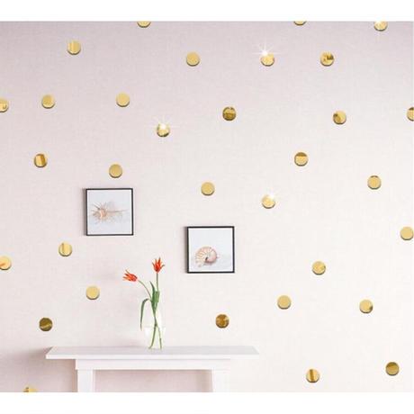 ☆インテリア3Dステッカー☆ ラウンド 丸型 2cm 500個セット 金色 壁用 アクリルシール デコ素材 DIY 店舗 m05617