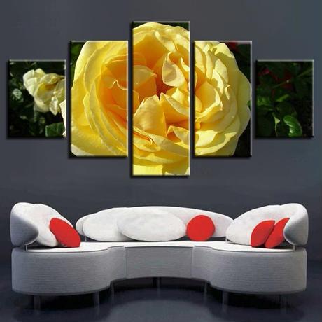 【お洒落な壁掛けアートパネル】 5点セット 黄色い美しい花 植物 自然景色 絵画 ファブリックパネル インテリア m04052