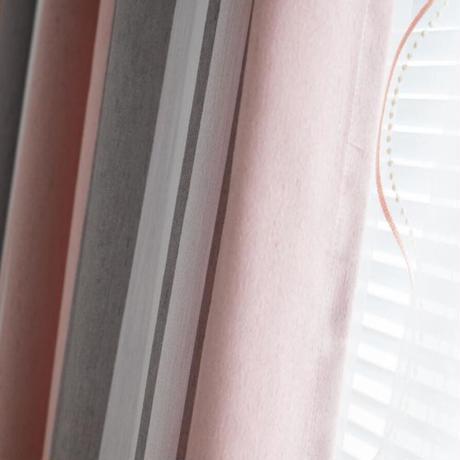 ☆ドレープカーテン☆ 縦ストライプ ピンク W100cmxH180cm 高さ調節可能 フックタイプ 2枚セット ホテル m05710