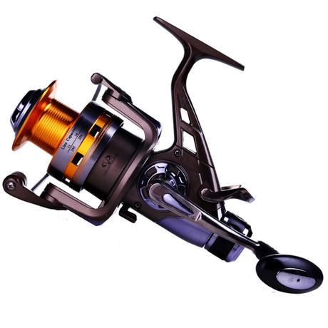 新品 スピニングリール 釣り道具 フィッシング ダブルドラッグ 鯉釣り 10BB 左右 高性能ベアリング 黒×ゴールド m02004