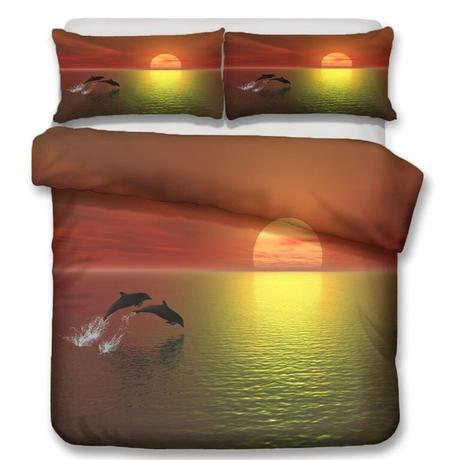 【掛け布団カバー3点セット】 サンセット いるか 夕日 ダブルサイズ用 掛け布団カバー 枕カバー×2 おしゃれ寝具 m04426