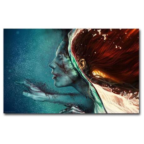 【お洒落な壁掛けアートパネル】 枠付き 40×60cm 女性 水 芸術 青&赤 絵画 部屋 インテリア  m06366