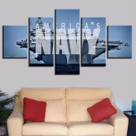 【お洒落な壁掛けアートパネル】 小さめサイズ5点セット AMERICA'S NAVY 海軍 ファブリックパネル DIY インテリア m04891
