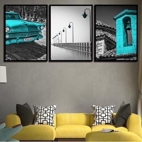 お洒落な壁掛けアートパネル 枠付き3点セット / 各15×20cm モノクロ×ブルー クラシックカー ポスター 絵画 ファブリックパネル m03441