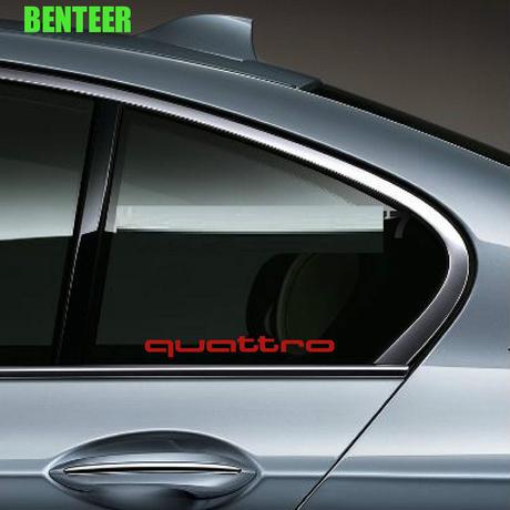 アウディ ステッカー quattro 2個入 窓 ウィンドウ ガラス Audi A1 A3 A4 A4L A6 A6L A7 A8 Q3 Q5 Q7 TT S RS h00384