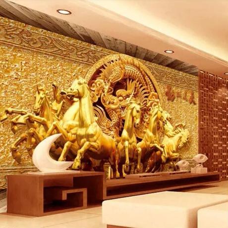 【カスタム3D壁紙】 1ピース 1㎡ 馬と龍 彫刻風 レトロ 黄金 お店 クロス張替 リメイクシート m04735