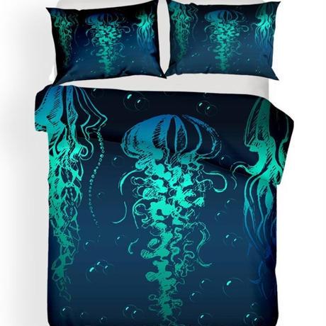 【掛け布団カバー3点セット】 水中世界 くらげ ブルー ダブルサイズ用 掛け布団カバー 枕カバー×2 おしゃれ寝具 m04427