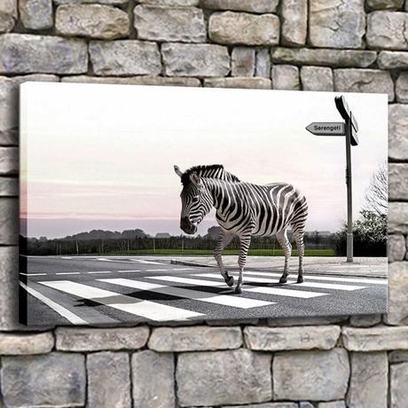 【お洒落な壁掛けアートパネル】 枠付き 40×60cm 横断歩道 しまうま シマシマ 写真 絵画 部屋 インテリア m06325