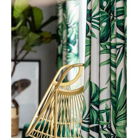 ☆ドレープカーテン☆ 北欧 植物 グリーン W100cmxH250cm 高さ調節可能 フックタイプ 2枚セット ホテル m05722