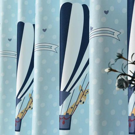 ☆ドレープカーテン☆ 気球 青 W100cmxH250cm 高さ調節可能 フックタイプ 2枚セット 子供部屋 ホテル m05705