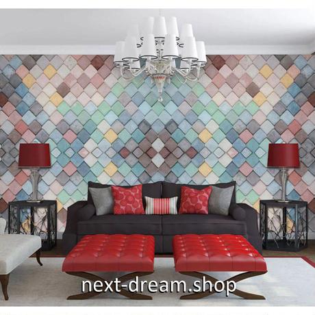 壁紙 チェック 幾何学模様 カラフル 1ピース 1㎡ サイズカスタマイズ可能 部屋 リビング ショップ 店舗 m06118