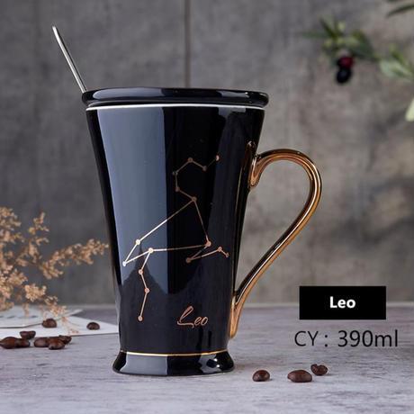 新品送料込  マグカップ ティーカップ 390ml ソーサー スプーン付  12星座デザイン コーヒー・ジュース・カクテルにも  おしゃれ食器 高級装飾 贈り物  m00601