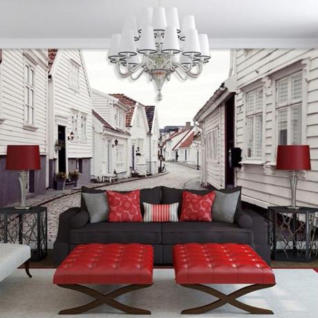【カスタム3D壁紙】 1ピース 1㎡ ヨーロッパの街並み 風景 白い家 お店 クロス張替 リメイクシート m04728